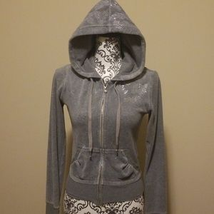 Express Tops - Express Grey Hoodie with Sequin Details